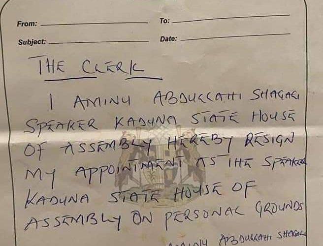KADUNA ASSEMBLY SPEAKER RESIGNS