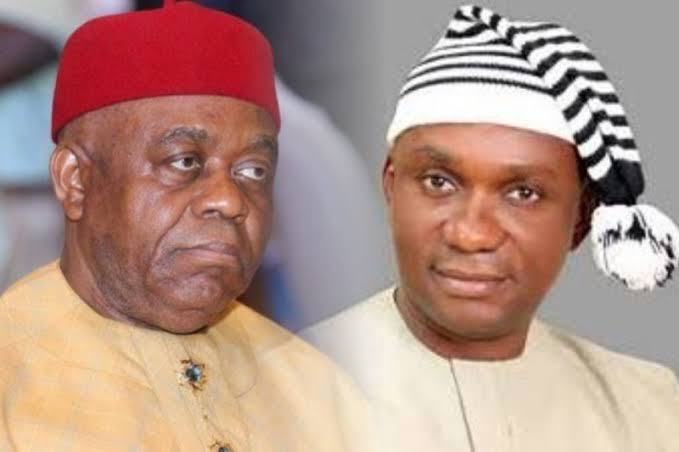 Another Abia Gov.Senator T. A Orji And Son, Chinedu Arrested By EFCC For Alleged Abia Treasury Looting.