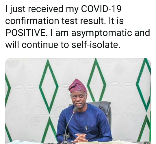 Chinese Virus: Oyo State Gov. Seyi Makinde Tests Positive
