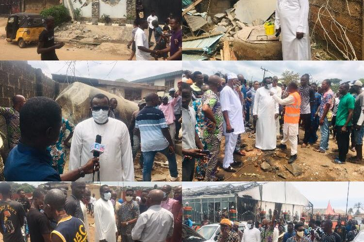 Iju Gas Explosion: Hon Temitope Adewale Visits The Site, Commiserates With The Victims and Residents.